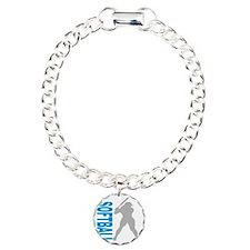 2-play softball bb(blk) Charm Bracelet, One Charm