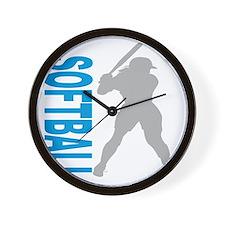 2-play softball bb(blk) Wall Clock
