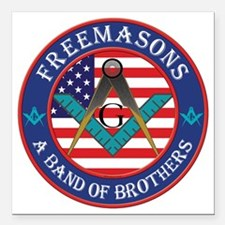 "Band Of Brother Masons Square Car Magnet 3"" x 3"""