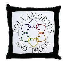 Poly and Proud circle logo Throw Pillow