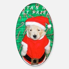 Christmas Note Card, Funny Golden R Sticker (Oval)