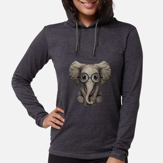 Cute Baby Elephant Calf with Reading Glasses Long