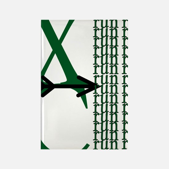 XC Run Green Black Rectangle Magnet