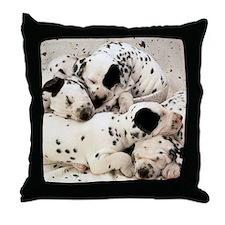 Dalmation sm fr pan print Throw Pillow