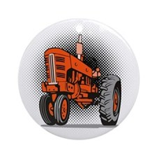 NX_tractor_front view_wkng_HALFTONE Round Ornament