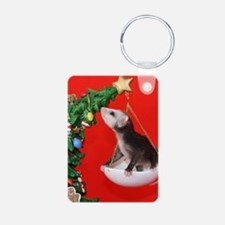 Christmas Tree Opossum Aluminum Photo Keychain