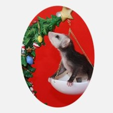 Christmas Tree Opossum Oval Ornament