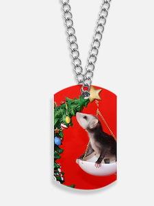 Christmas Tree Opossum Dog Tags
