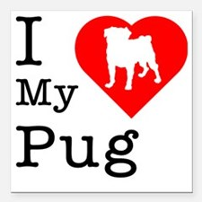 "Pug.eps Square Car Magnet 3"" x 3"""