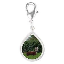 2 headed alpaca Silver Teardrop Charm