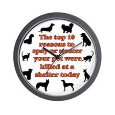 10 reasons to spay_white Wall Clock