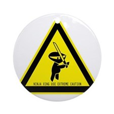 ninjacautionsign Round Ornament