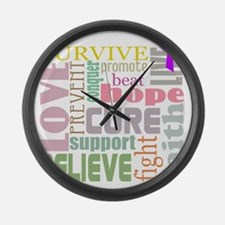 alzheimers-wordcollage-light Large Wall Clock