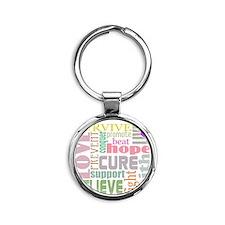 alzheimers-wordcollage-light Round Keychain