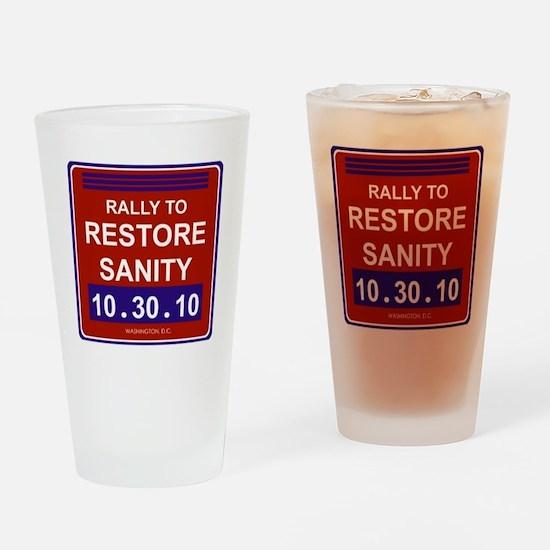 rallytorestoresanityblack Drinking Glass