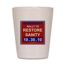 rallytorestoresanityblack Shot Glass