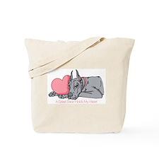 Blue Dane Holds Heart Tote Bag