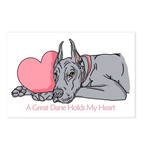 Blue Dane Holds Heart Postcards (Package of 8)