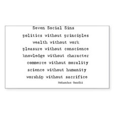Seven Social Sins Rectangle Decal