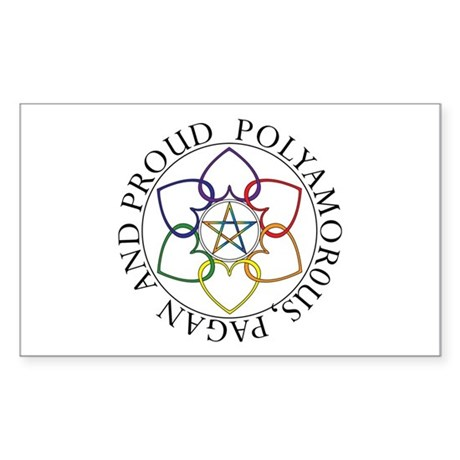 Pagan Poly and Proud circle Rectangle Sticker