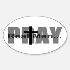 Real Men Pray Oval Decal