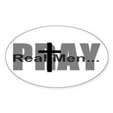 Real Men Pray Oval Stickers