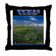 Postcard Texas Bluebonnets_0999_300dp Throw Pillow