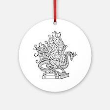 dragon-bks_black Round Ornament