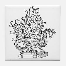 dragon-bks_black Tile Coaster
