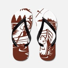fly fisherman boat catching trout Flip Flops