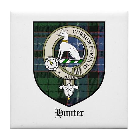 Hunter Clan Crest Tartan Tile Coaster