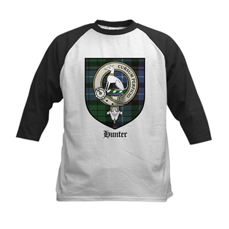 Hunter Clan Crest Tartan Kids Baseball Jersey