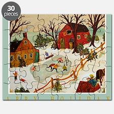 Happy Holidays Artistic Ice Hockey Puzzle