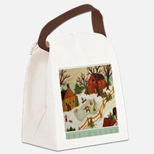 Happy Holidays Artistic Ice Hocke Canvas Lunch Bag