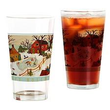Happy Holidays Artistic Ice Hockey Drinking Glass