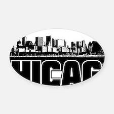Chicago Skyline Oval Car Magnet