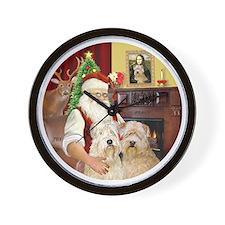(R) Santas Wheaten terriers (TWO) Wall Clock