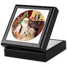 (R) Santas Wheaten terriers (TWO) Keepsake Box