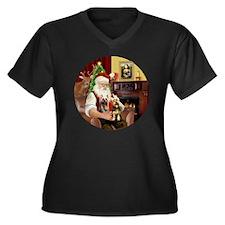 (R) Santa -  Women's Plus Size Dark V-Neck T-Shirt