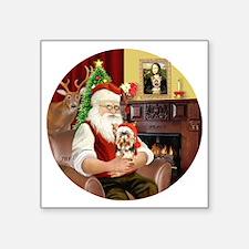 "(R) - Santas Yorkshire Terr Square Sticker 3"" x 3"""