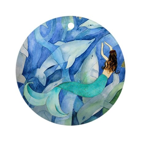 DOLPHIN AND MERMAID PARTY Round Ornament