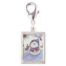 Snowman Silver Portrait Charm