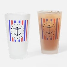 red white blue stripes Anchor notec Drinking Glass