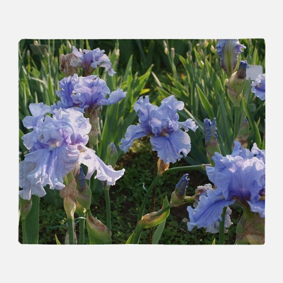 Delicate light blue irises Throw Blanket