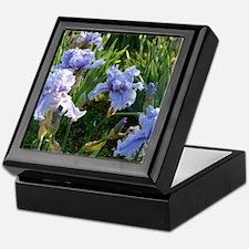 Delicate light blue irises Keepsake Box