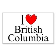 """I Love British Columbia"" Rectangle Decal"
