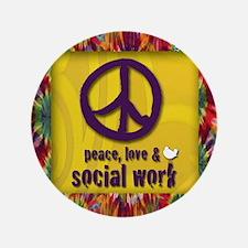 """3-PeaceLogo 3.5"""" Button"""