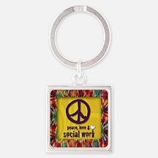 3-PeaceLogo Square Keychain