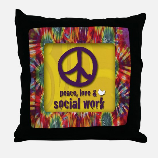 3-PeaceLogo Throw Pillow