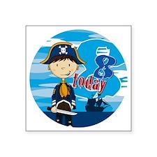 "pirate boy badge 8 Square Sticker 3"" x 3"""